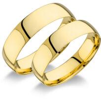 14 karátos sárga arany sima karikagyűrűpár (5.5mm széles)
