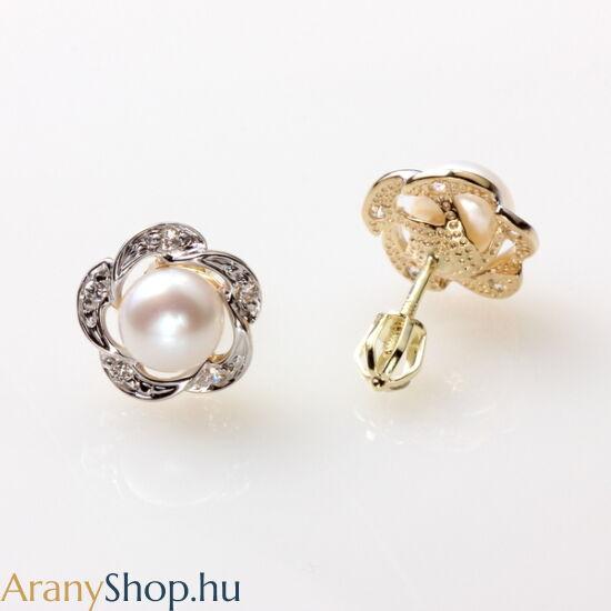 14karátos arany fülbevaló tenyésztett gyönggyel