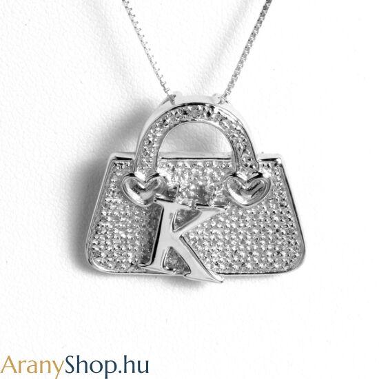"""Ezüst táska bross-medál """"K"""" betűvel"""