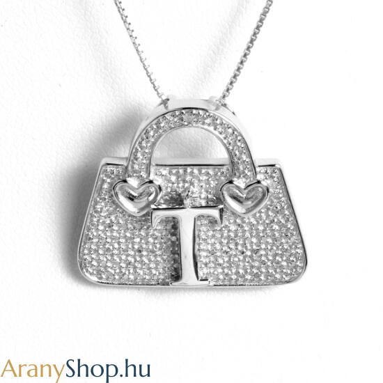 """Ezüst táska bross-medál """"T"""" betűvel"""