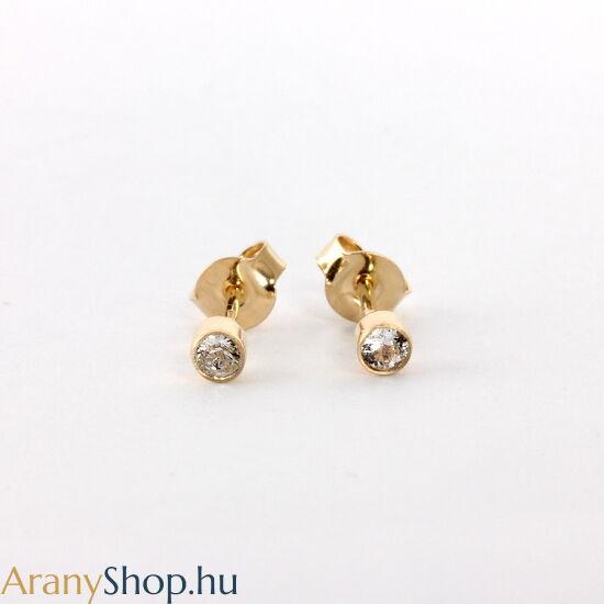 14k arany stekkeres fülbevaló cirkónia kővel