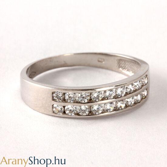 14 karátos fehér arany női gyűrű