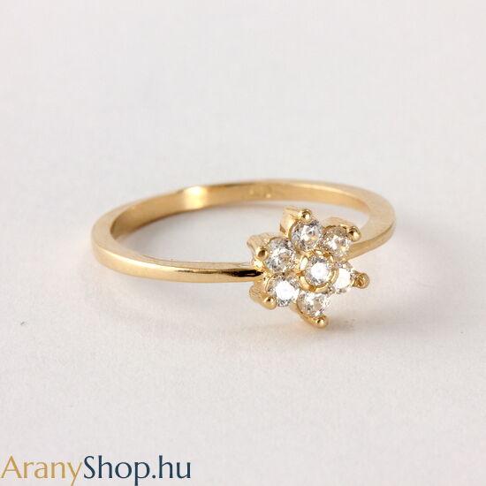 14 karátos arany női gyűrű cirkónia kővel