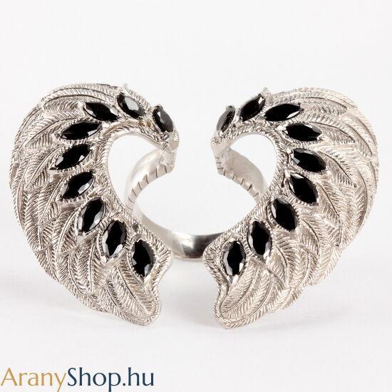 Ezüst angyalszárny gyűrű cirkónia kővel