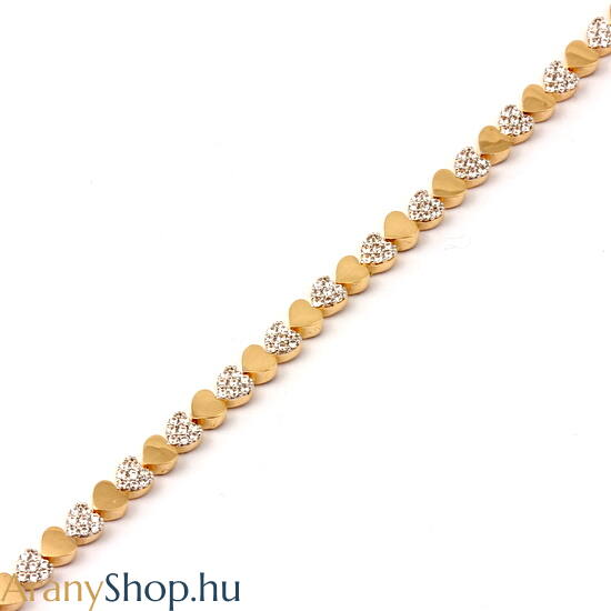 14 karátos arany karkötő cirkónia kővel