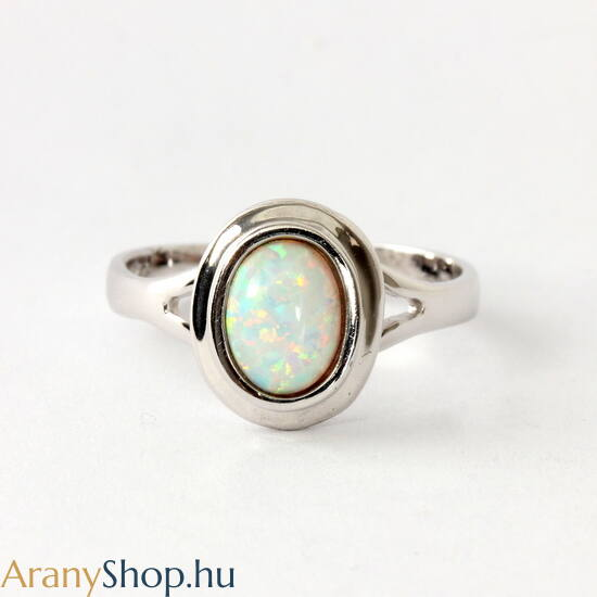 14k fehér arany női gyűrű opál kővel