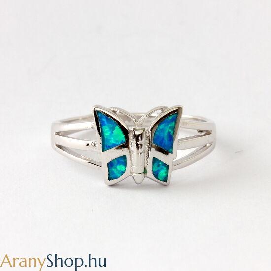 Ezüst pillangó gyűrű opál kővel