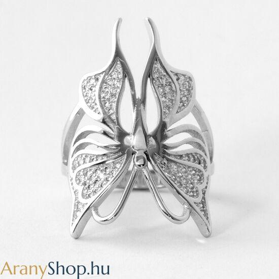 Ezüst pillangó gyűrű