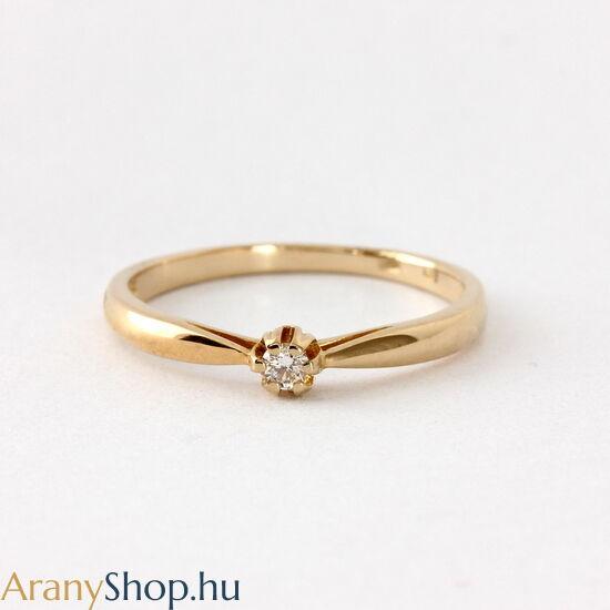Brill köves 14k arany eljegyzési gyűrű