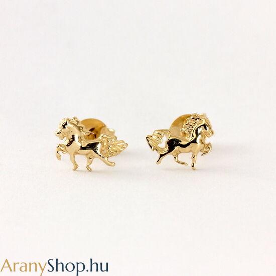 14k arany lovas stekkeres fülbevaló