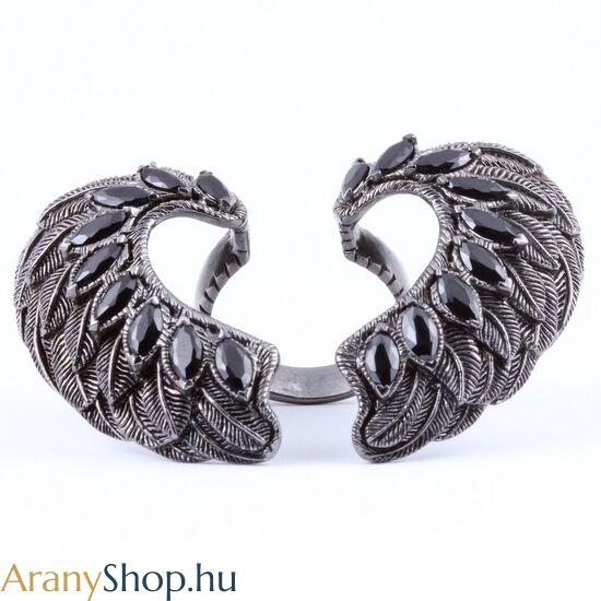 Ezüst angyalszárny gyűrű fekete spinellel