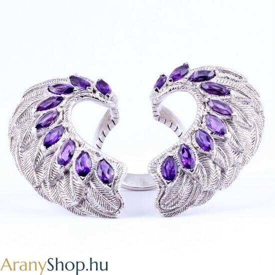 Ezüst angyalszárny gyűrű ametiszt kővel