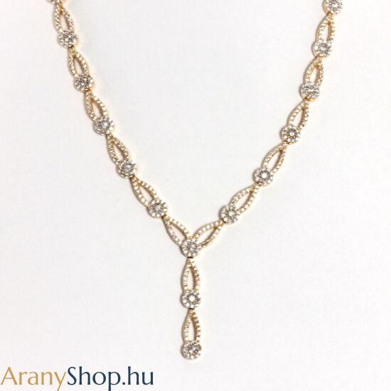 14 karátos arany nyakék cirkónia kővel