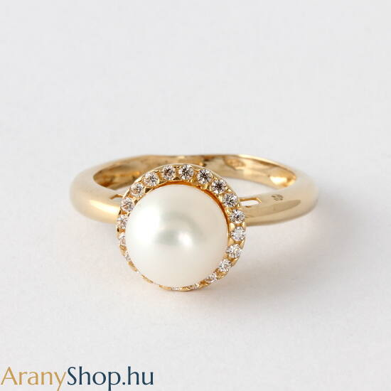 14 karátos arany gyűrű tenyésztett gyönggyel