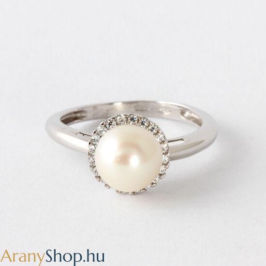 14 karátos fehér arany gyűrű tenyésztett gyönggyel