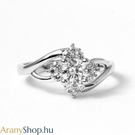 14k fehér arany női gyűrű cirkónia kővel