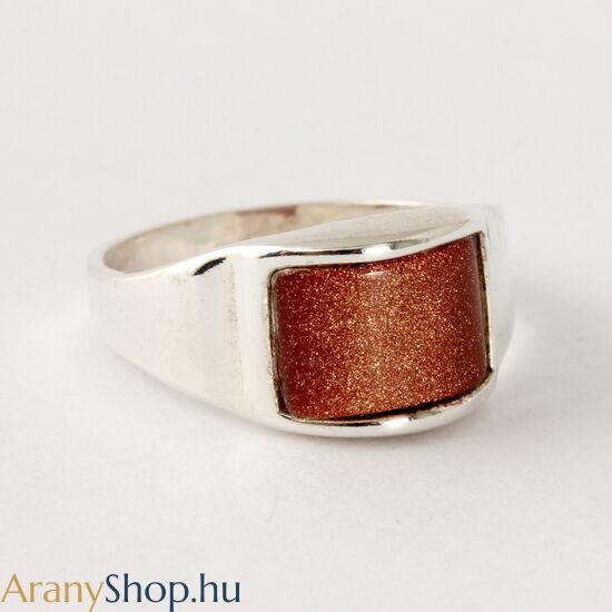 Ezüst gyűrű napkővel