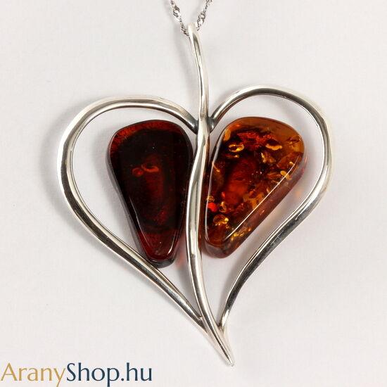 Ezüst szív medál borostyánnal