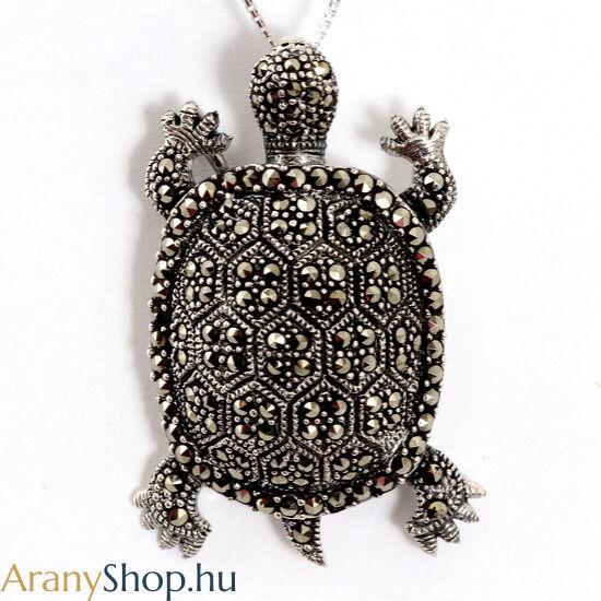 Ezüst teknős bross-medál markazittal