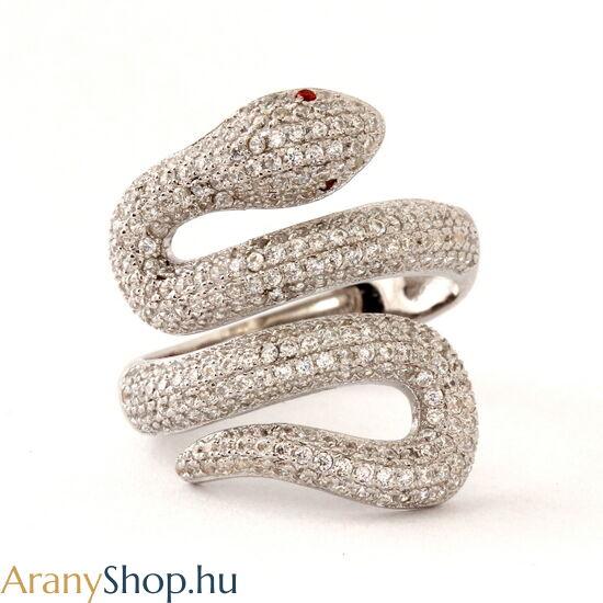 Ezüst kígyó gyűrű cirkónia kővel