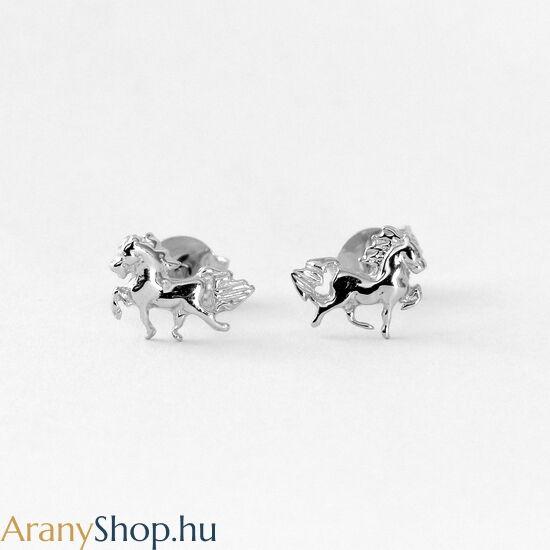 14k fehér arany lovas stekkeres fülbevaló