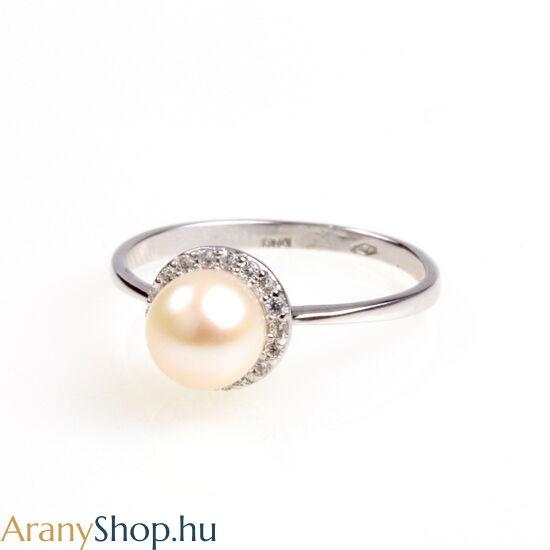 14k fehér arany gyűrű tenyésztett gyönggyel