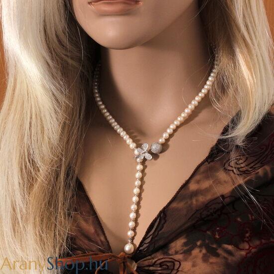 Ezüst női nyaklánc tenyésztett gyönggyel