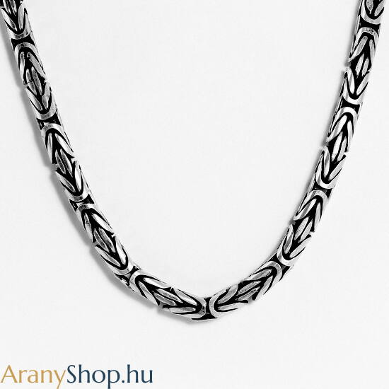 Ezüst antikolt király nyaklánc ø6mm