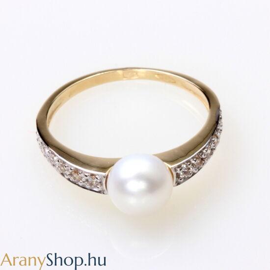 14karátos arany gyűrű tenyésztett gyönggyel