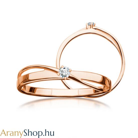 14 karátos rozé arany eljegyzési gyűrű gyémánttal