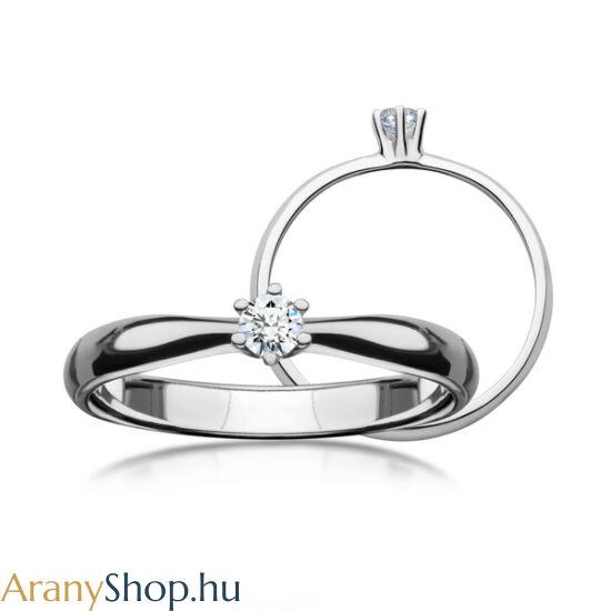 14 karátos fehér arany eljegyzési gyűrű