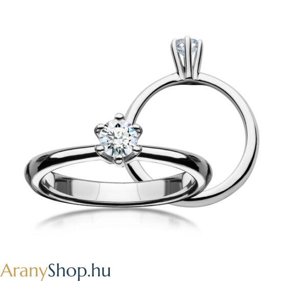 14 karátos fehér arany eljegyzési gyűrű gyémánttal