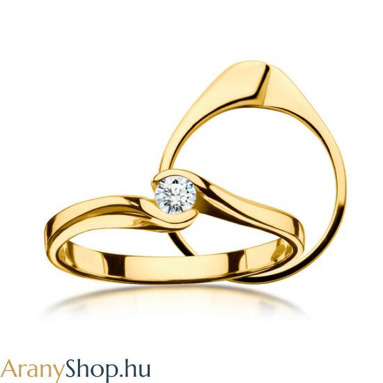 14 karátos sárga arany eljegyzési gyűrű gyémánttal