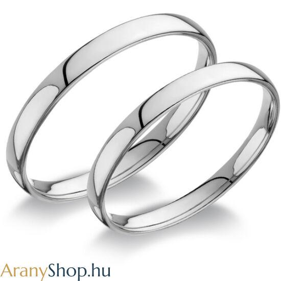 14 karátos fehér arany sima karikagyűrűpár
