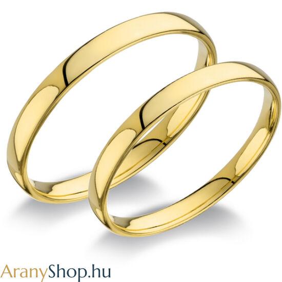 14 karátos sárga arany sima karikagyűrűpár