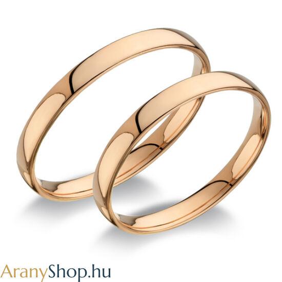 14 karátos rozé arany sima karikagyűrűpár