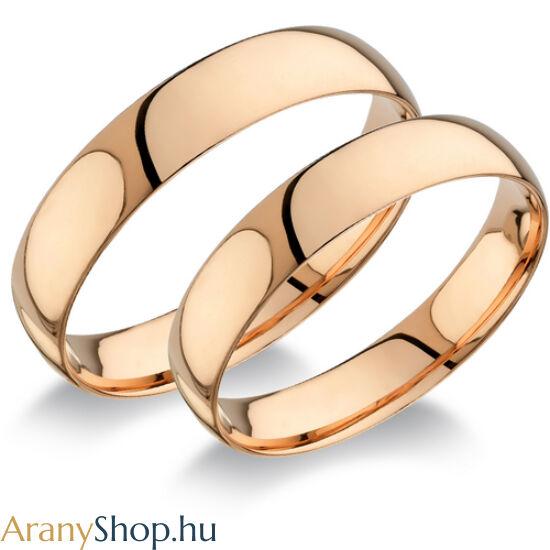 14 karátos rozé arany sima karikagyűrűpár (4.5mm széles)