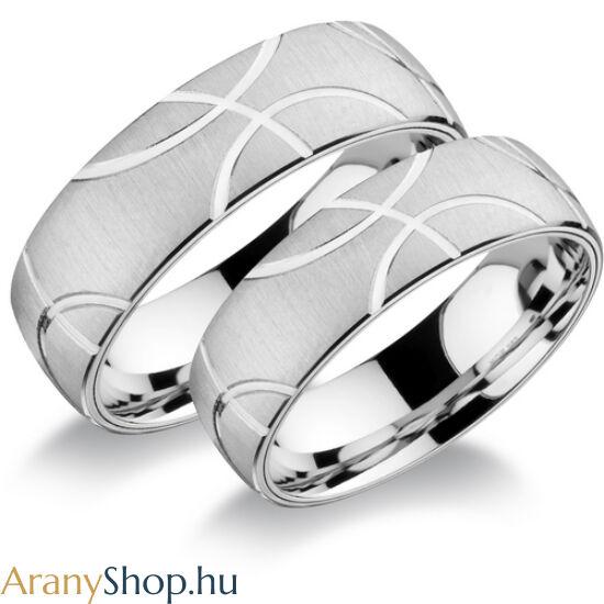 14k fehér arany super könnyű karikagyűrűpár