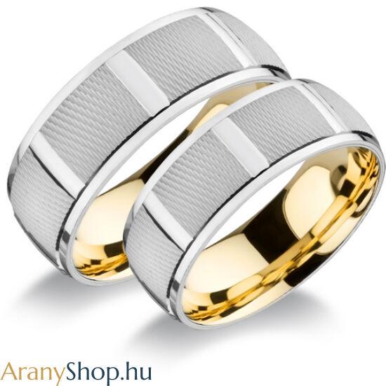 14k fehér-sárga arany super könnyű karikagyűrűpár