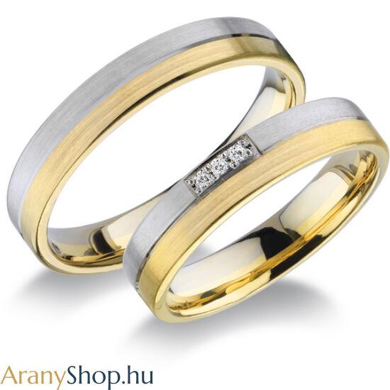 14 karátos fehér-sárga arany karikagyűrűpár