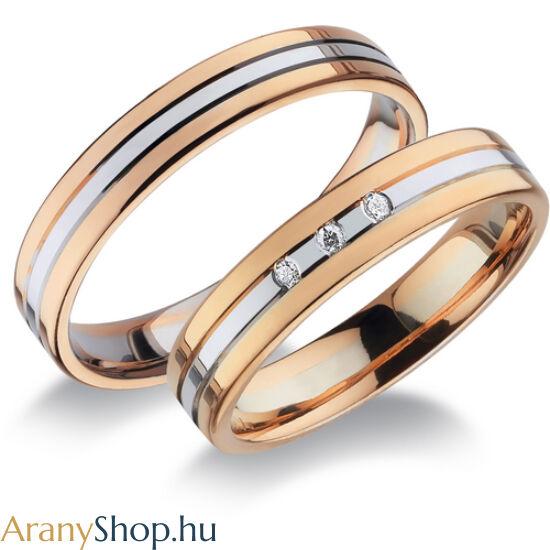 14 karátos rozé-fehér arany karikagyűrűpár