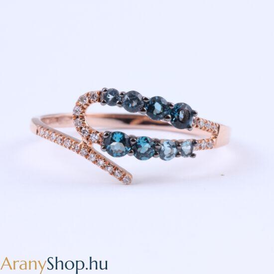 Brill köves 14k arany gyűrű kék topázzal