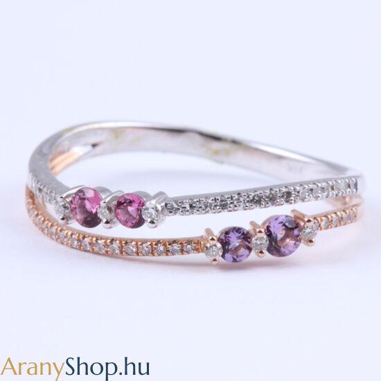 Brill köves 14k arany gyűrű ametiszt és pink zafírral