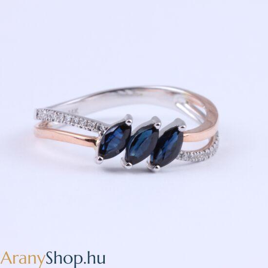 Brill köves 14k arany gyűrű zafírral