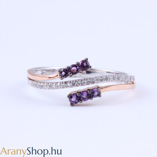 Brill köves 14k arany gyűrű ametiszttel