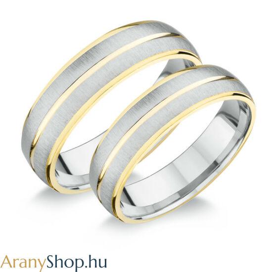 Aranyozott ezüst karikagyűrűpár