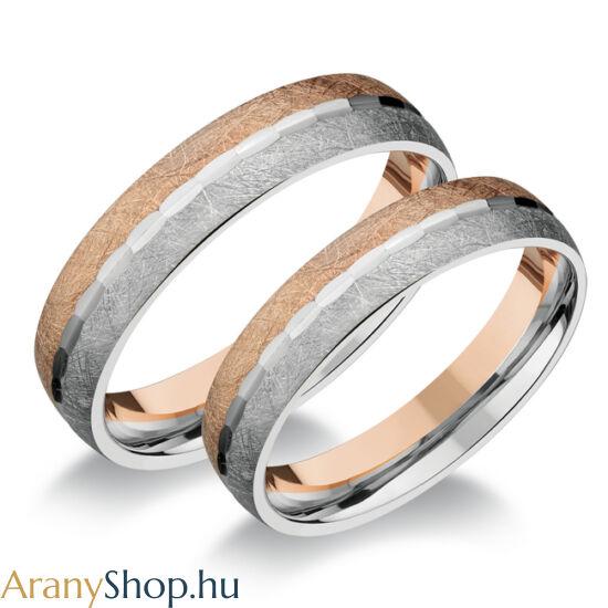 14 karátos fehér-rozé arany karikagyűrűpár