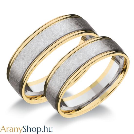 14 karátos sárga-fehér arany karikagyűrűpár