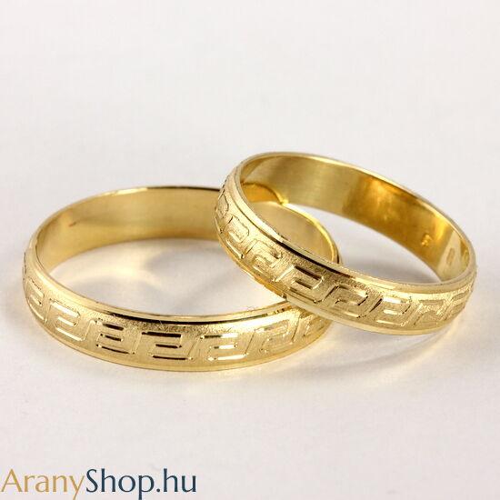 14 karátos sárga arany karikagyűrűpár