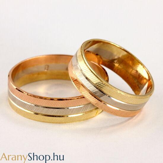14 karátos többszínű arany karikagyűrűpár